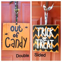 Halloween Wood Wall / Door Sign 14x14 by GiftsbyGaby on Etsy