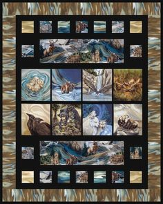 Bricks designed by Mountainpeek Creations. Features North American Wildlife by Jodi Bergsma, shipping to stores February Panel Quilts, Quilt Blocks, Wildlife Quilts, Horse Quilt, Photo Quilts, Japanese Quilts, Animal Quilts, Boy Quilts, Applique Quilts