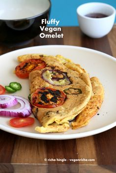 Chickpea Flour Vegan Omelette. Pancake with Onions and Tomato. Eggless Soy-free Gluten-free Recipe