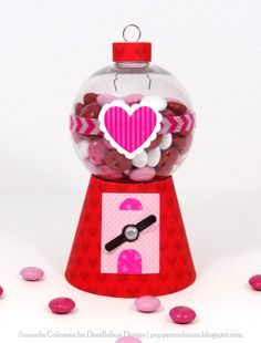 Celebrations: Valentines Cards, Tags, Layouts, Albums & Party Favors ❤ Doodlebug Design Inc Blog: Sweethearts Ornament Candy Jar by Amanda Coleman.
