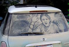 Dirty Car Art Gallery. Thought it would be funny to have a kid in the rear window, yelling for help. When I decided to try this, I took a picture of my 12 y/o daughter. Turned out kinda creepy. Might try this again with a younger, male kid, and do it more cartoony. Photo Credit: Scott Wade