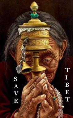 Peinture d'une femme âgée tibétaine qui nous rappelle la femme épuisée par la vie et la souffrance en face de la Chine l'envahisseur dictateur. On voit la grand-mère tibétaine qui n'a de cesse de prier pour supplier que l'on sauve tous et toutes le Tibet et son peuple.