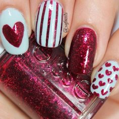 # Ruby red glitter with stripes & hearts Nails Valentine's Day Nail Designs, Pretty Nail Designs, Colorful Nail Designs, Frensh Nails, Red Nails, Hair And Nails, Nail Nail, Acrylic Nails, Nail Polish
