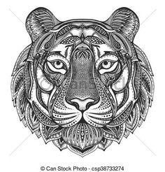 Arte Vetorial Vector Ornamental Tiger Arte Desenho