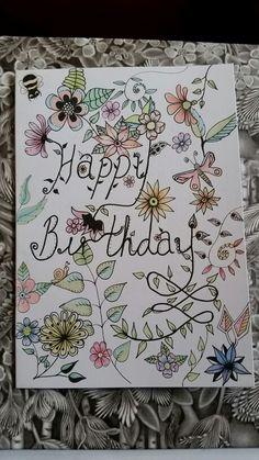 A hand inked and coloured birthday card by Daisy Jayne fb.com/daisyjaynehandmade