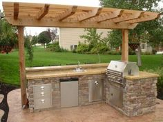 Backyard patio kitchen designs gorgeous outdoor patio kitchen ideas kitchen backyard landscaping ideas with outdoor kitchen outdoor patio kitchen pictures Simple Outdoor Kitchen, Small Outdoor Kitchens, Outdoor Kitchen Bars, Backyard Kitchen, Outdoor Kitchen Design, Backyard Patio, Backyard Landscaping, Landscaping Ideas, Kitchen Set Up