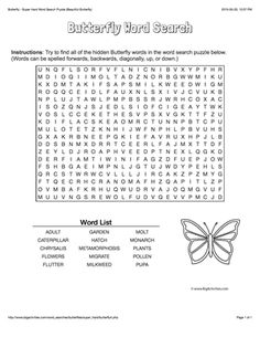 Butterfly Word Search - Free Word Search Puzzles
