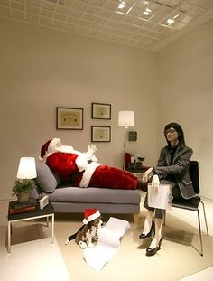 Moschino holiday windowMoschino Boutique Window - of Santa getting therapy to deal with the stress of Christmas - too funny!