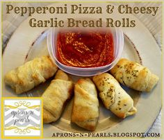 pepperoni pizza rolls and easy cheesy garlic bread - a quick and scrumptious meal or snack!