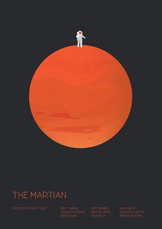 The Martian (2015) ~ Minimal Movie Poster by Matt Needle ~ Oscars 2016 Nominees #amusementphile
