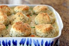 Baked Homemade Chicken and Biscuits - these turned out very well!  It isn't easy to find recipes that don't use canned cream soups or store can biscuits.
