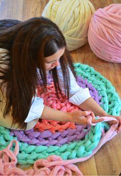 Giant hand crochet mat in fun uplifting colours! Crochet Mat, Crochet Needles, Knitting Needles, Hand Crochet, Crochet Hooks, Giant Knitting, Barnsley, Loom Weaving, Yarn Needle