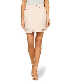 5b22f86dc6 Follow the fashion pack with the Distressed Cut Off Denim Mini Skirt. This  denim 5