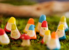 These would make cute handmade geoswag...made with air dry clay, painted in acrylic and double varnished.    Three Tiny Gnome. $14.95, via Etsy.