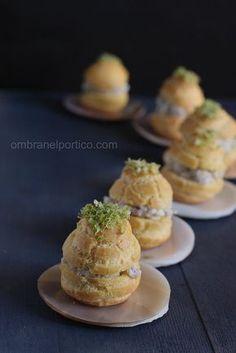 Bigné salati con mortadella e casatella (formaggio fresco e cremoso veneto) con granella di pistacchi              #recipe #juliesoissons