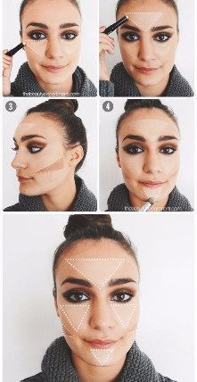 Make the triangles your best guides to outline your face. Makeup Tips, Beauty Makeup, Hair Makeup, Hair Beauty, Face Contouring, Contour Makeup, Makeup Techniques, Tips Belleza, Fair Skin