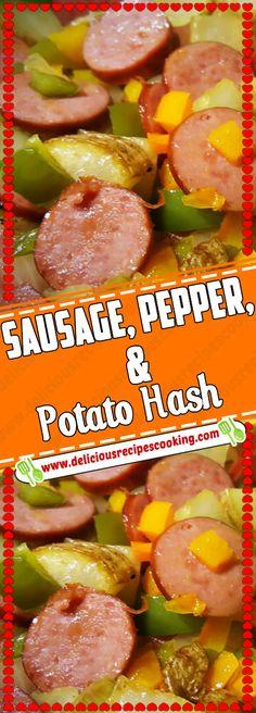 Sausage, Pepper, & Potato Hash - healthy recipes & list of dishes and heart healthy recipes Sausage Recipes, Pork Recipes, Casserole Recipes, Recipies, Easy Healthy Recipes, Easy Dinner Recipes, Easy Dinners, Healthy Meals, Easy Skillet Meals