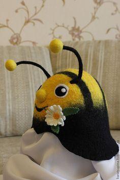 """Купить Шапка для сауны """"Юный пчел"""" - желтый, черный, шапка для бани, шапка для…"""