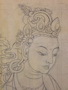 Drawing has begun on the giant thangka.  Learn more at PreserveTibetanArt.org #thangka  #Tibetan art #Tashi Dhargyal