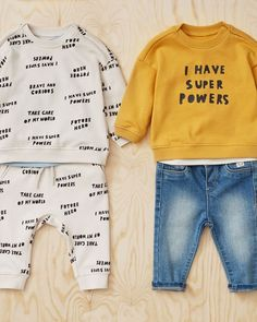 """H&M Kids on Instagram: """"A new autumn range for your future hero! What superpowers does your little one have? #HMKids Sweatpants: 0916412001 Sweater:…"""" H&m Kids, Baby Kids, Baby Clothes Online, Super Powers, Maternity, Sweatpants, Superhero, Uae, Sweaters"""