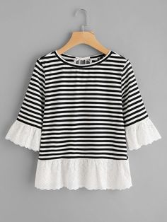 Shop Eyelet Embroidered Trim Bow Back Stripe Tee online. SheIn offers Eyelet Embroidered Trim Bow Back Stripe Tee & more to fit your fashionable needs. Teen Fashion Outfits, Girl Outfits, Casual Outfits, Cute Outfits, Diy Clothes, Clothes For Women, Couture, Striped Tee, Dress Patterns