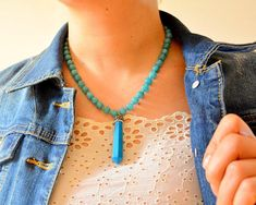 #Blue #Turquoise #Necklace, Turkish Drama Necklace, Turkey #Movie Jewelry, #Unique #Clay Necklace, #Grand #Bazaar, Turquoise Bullet Smoked Jade Bead