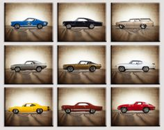 Vintage Muscle Cars Set of Nine Photo Prints by shawnstpeter