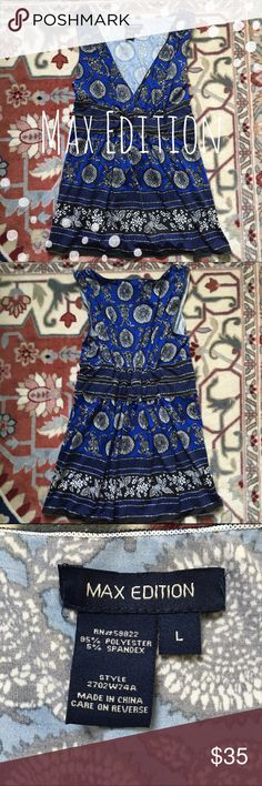 Blue V Neck Tank Cobalt blue and black abstract print tank by Max Edition. ▪️Sleeveless ▪️V-neck ▪️Like new   Smoke-free home  Ships by next day  Price negotiable   Open to trades  Happy Poshing! Max Edition Tops Tank Tops