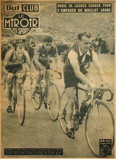 Tour de France 1953. 11^Tappa, 14 luglio. Cauterets > Luchon. Col du Tourmalet. Jean Robic (1921-1980). Jean Le Guilly (1932-2005), Fritz Schaer (1926-1997) e Jesus Loroño (1926-1998) [Le Miroir des Sports]