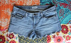 DIY | BlogHer Scalloped edge cut off shorts