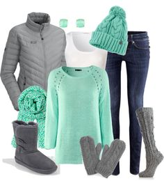 """snow day"" by meganpearl on Polyvore....perfect for getting into spring colors when winter is still here"