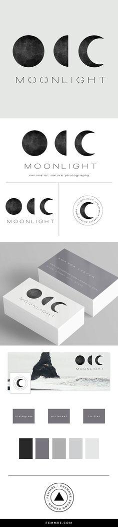 Moonlight Photographer Premade Brand Launch femmre.com/ (Business Card Restaurant Carte De Visite)
