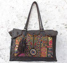 8fc28b4c26 Leather Vintage banjara bag multi color shoulder case handwork embroiedry  leather purse Indian hobo handbag mirror work.