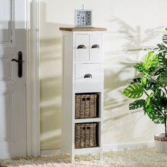 Skřínka Milton 40x30x140 white&natural, 40x30x140cm - Dekoria