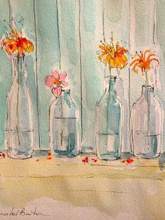January Bottles Print By Annabel Burton Watercolor Painting Techniques, Watercolour Painting, Painting & Drawing, Painting Lessons, Painting Tutorials, Painting Tips, Watercolors, Watercolor Bookmarks, Watercolor And Ink