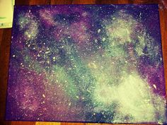 My own galaxy painting :) Using purple, teal blue, white, silver, black, and dark pink acrylic paint and a regular sponge.