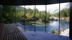 The Juvet Hotel in Norway, plonked peacefully in the middle of nowhere.