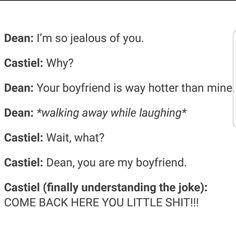 Sam taught him that. Because we know Dean sucks at proper sass:P Dean And Castiel, Dean Winchester, Nos4a2, Supernatural Ships, Destiel Fanart, Johnlock, Cockles, Super Natural, Superwholock