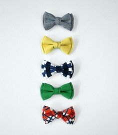 Spring 2014 Collection   Clip On Bow Tie  by deargraceandparker, $8.00  Chambray, Mustard, Navy Check, Green, Orange Tartan, Wedding Party, Groom, Toddler, Boys, Men