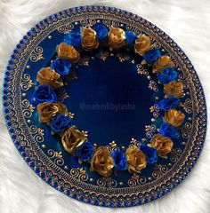 Royal blue and gold floral wedding mehndi thaal charger plate Arti Thali Decoration, Diwali Decoration Items, Indian Wedding Receptions, Wedding Mandap, Floral Wedding Decorations, Engagement Decorations, Wedding Ideas, Wedding Crafts, Bridal Gift Wrapping Ideas