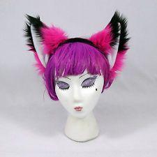 PAWSTAR Hot Pink FOX yip Headband cosplay costume goth furry NEON kitty cat EARS