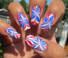 Red, White and Blue Water Marble.