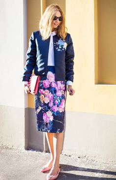 Coordinate your florals with a matching bomber jacket and pencil skirt for a more casual office setting.