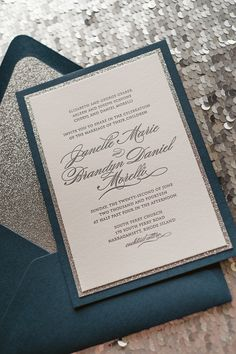 DIANE Suite Fancy Glitter Package, navy and silver wedding, navy wedding invitation, silver glitter wedding invitation, letterpress wedding invitation, black tie invite, elegant wedding invitations, http://justinviteme.com/collections/styled-collections/products/diane-suite-styled-fancy-glitter-package