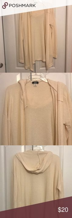 Oversized hooded cardigan GUC (to be safe) only worn a few times Ivory off white color  BDG brand from Urban Outfitters Oversized hooded cardigan sweater So comfy and cozy! size large could fit medium and XL depending how you like it to fit  I'm a teacher and my school banned hoods so my loss is your gain! Priced to sell Smoke free, cat friendly (but not in the closet) BDG Sweaters Cardigans