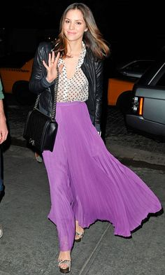 Katharine McPhee Toughened Up Her Purple Maxi Skirt With A Biker Jacket, 2012