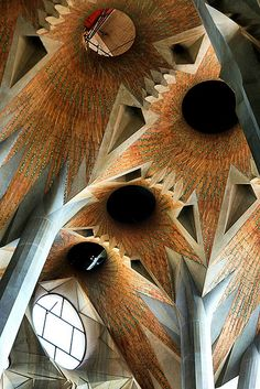 La Sagrada Familia ceiling. Gaudi. Barcelona, Spain. Building still under construction. Completion ETA: 2026.