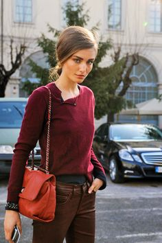 this wine colored sweater with the embellished sleeves poking out screams fall. i am loving it (Milan FW)