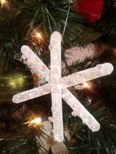 Snowflake ornament made with craft sticks