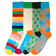 Mens Dress Socks - Happy Socks - Polka Dot, Argyle, Solid & Stripe Dress Socks Gift Box 4 Pack
